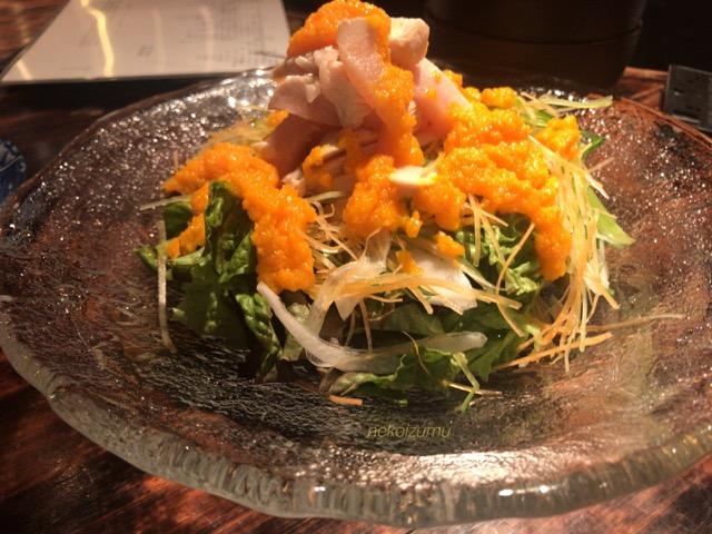 蒸し鶏の有機野菜のサラダ